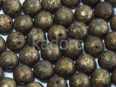 Round Beads Dk Bronze Etched Gold Patina 8 mm - 10 sztuk