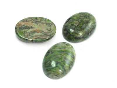 Jaspis zielony kaboszon owal 25x18 mm - 1 sztuka