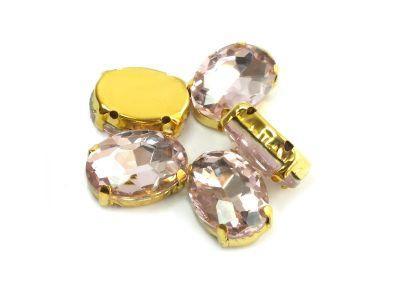 Montees jasnoróżowe w złocie owal 14x10 mm - 1 sztuka