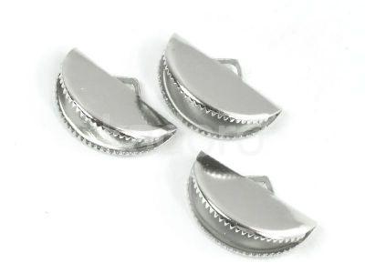 Zakończenia walizkowe półokrągłe 20x12.5 mm srebrne - 2 szt