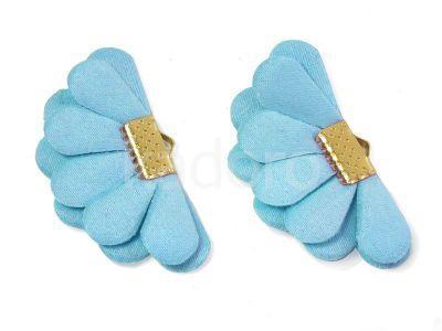 Wachlarzyk błękitny satyna 21x40 mm w złotym okuciu - 1 sztuka