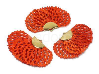 Wachlarzyk jasnoczerwony 25x41 mm ażurowy w złotym okuciu - 1 sztuka