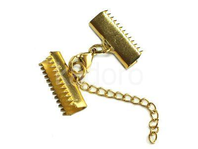 Zakończenia walizkowe stalowe złote 20x7 mm z zapięciem - komplet