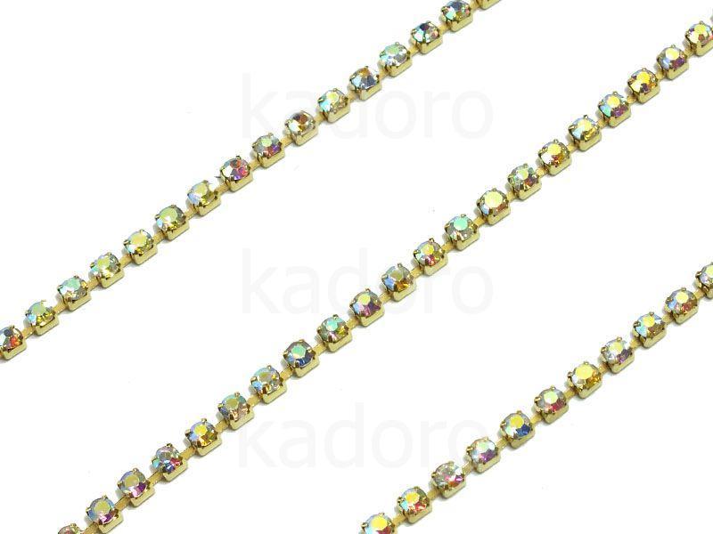Taśma cyrkoniowa złota AB 2 mm - 20 cm