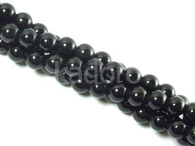 Obsydian czarny kula 6 mm - sznur 38 cm