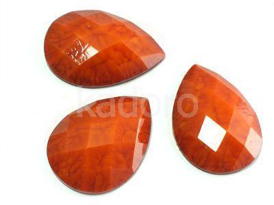 Akrylowa łezka fasetowana 25x18mm skóra trolla ciemnopomarańczowa - 2 sztuki