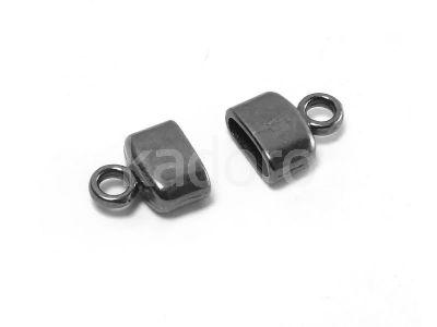 Końcówki do wklejania owalne 9x8x4 mm czarne - 2 sztuki
