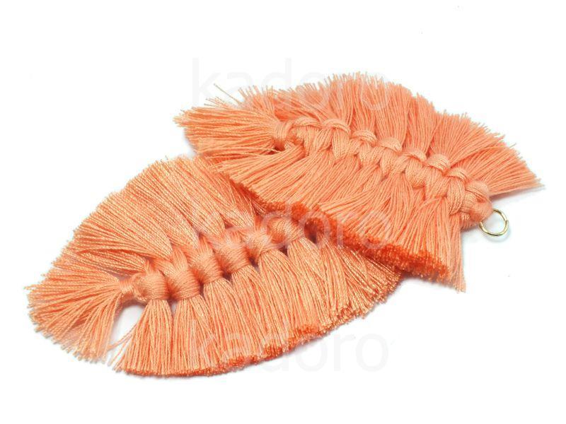 Chwost makramowy koralowy 85x55 mm - 1 sztuka