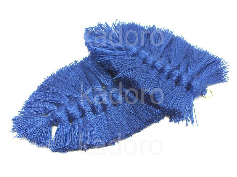 Chwost makramowy kobaltowy 85x55 mm - 1 sztuka