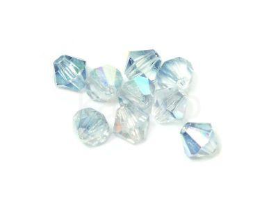Bicone 3mm Crystal Rainbow Blue Luster - 6 sztuk