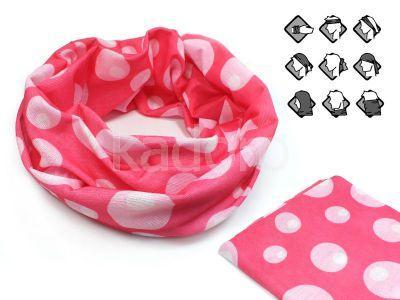 Komin wielofunkcyjny bandana różowa w grochy