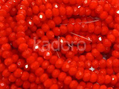 Szklane oponki fasetowane jasnoczerwone 3x2 mm - sznur