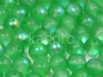 Round Beads Satin Green AB 8 mm - 10 sztuk