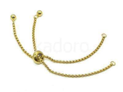 Baza bransoletki pod łącznik stalowa złota regulowana - 1 sztuka