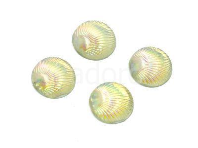 Kaboszon tęczowy muszelka 9.5 mm perłowy - 4 sztuki