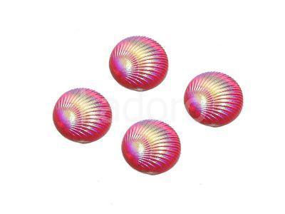 Kaboszon tęczowy muszelka 9.5 mm różowy - 4 sztuki