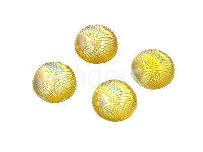 Kaboszon tęczowy muszelka 9.5 mm żółty - 4 sztuki