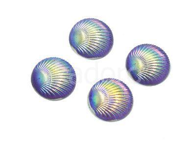 Kaboszon tęczowy muszelka 9.5 mm fioletowy - 4 sztuki