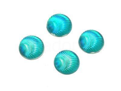 Kaboszon tęczowy muszelka 9.5 mm niebieski - 4 sztuki