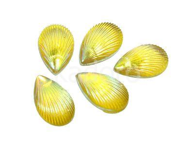 Kaboszon tęczowy muszelka 12.5x8 mm żółty - 4 sztuki