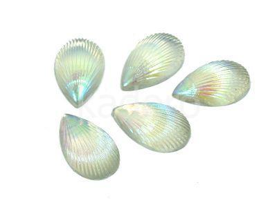 Kaboszon tęczowy muszelka 12.5x8 mm perłowy - 4 sztuki
