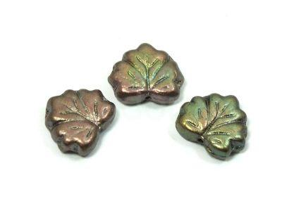 Maple Leaves Matte Metallic Green-Brown 13x11mm - 2 sztuki