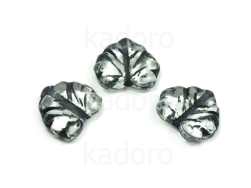 Maple Leaves Crystal - Black Inlay 13x11mm - 2 sztuki