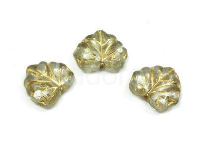 Maple Leaves Crystal - Gold Inlay 13x11mm - 2 sztuki