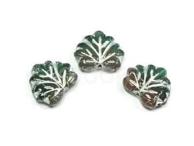 Maple Leaves Archipelago - Silver Inlay 13x11mm - 2 sztuki