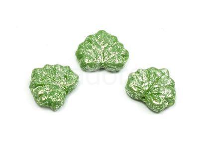 Maple Leaves Fern Green - Silver Patina 13x11mm - 2 sztuki