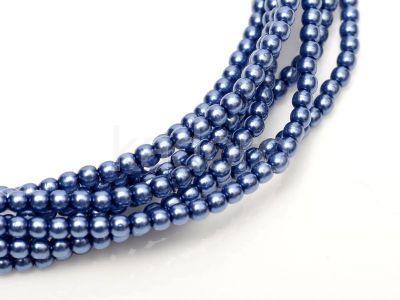 Perełki szklane stalowoniebieskie 3 mm - sznur
