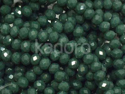 Szklane oponki fasetowane ciemnozielone 4x3 mm - sznur