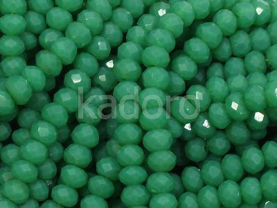 Szklane oponki fasetowane soczysta zieleń 4x3 mm - sznur