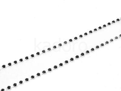 Taśma cyrkoniowa srebrna - czarna 2.8 mm - 20 cm