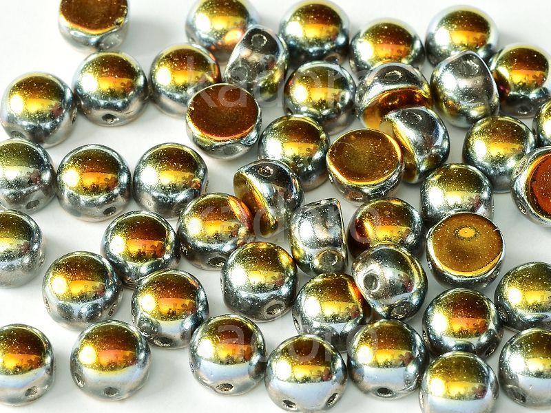 2-hole Cabochon Crystal Full Marea 6mm - 2 sztuki