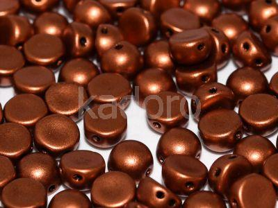 2-hole Cabochon Matte Metallic Dark Copper 6mm - 2 sztuki