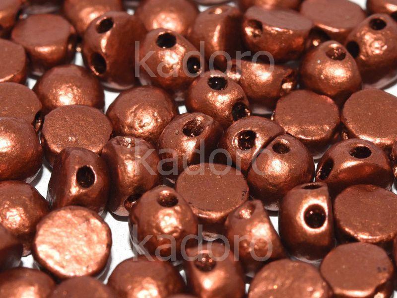 2-hole Cabochon Etched Dark Copper 6mm - 2 sztuki