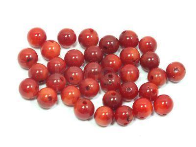 Koral czerwony kula 4 mm - 4 sztuki