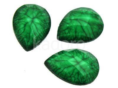 Akrylowa łezka fasetowana 25x18mm skóra trolla zielona - 2 sztuki