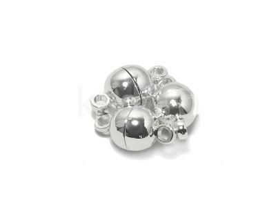 Zapięcie magnesowe kulka 6 mm posrebrzane - 1 sztuka