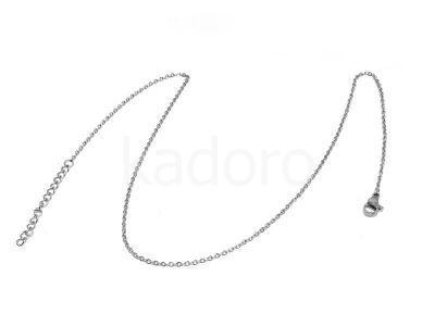 Łańcuszek stal chirurgiczna 1.5mm z zapięciem i przedłużką - 40 cm