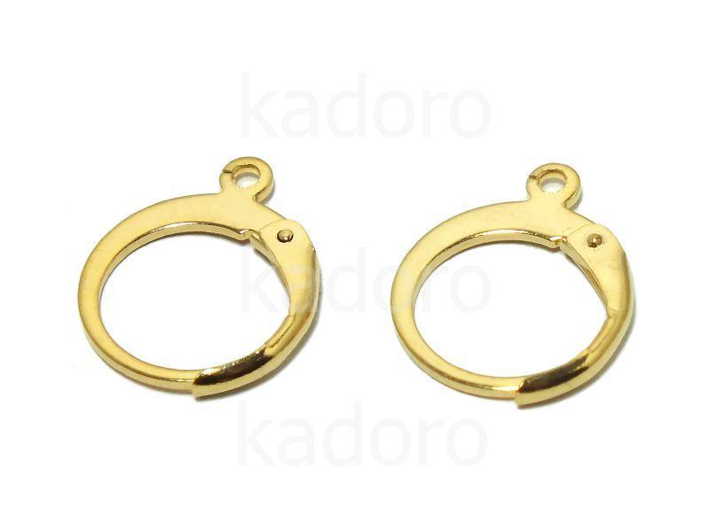 Bigle stalowe kajdanki 12 mm złote - 1 para