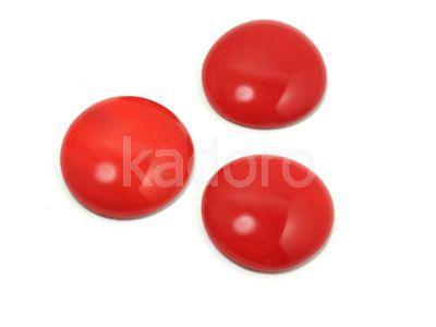 Szklany kaboszon Opaque Red koło 18mm - 2 sztuki