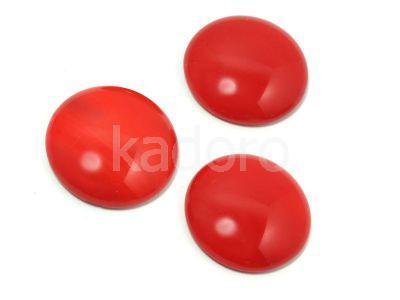 Szklany kaboszon Opaque Red koło 25mm - 1 sztuka