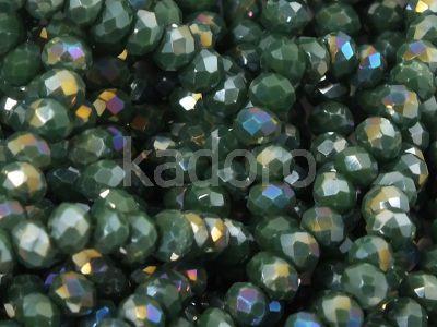 Szklane oponki fasetowane ciemnozielone AB 3.5x2.5 mm - sznur