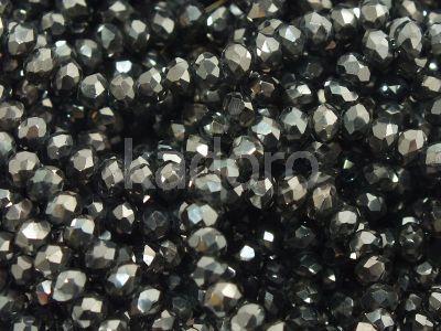 Szklane oponki fasetowane hematytowe 3.5x2.5 mm - sznur
