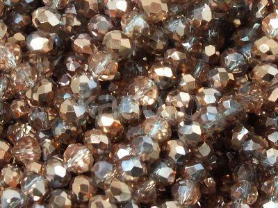 Szklane oponki fasetowane kryształowo-miedziane 4x3 mm - sznur