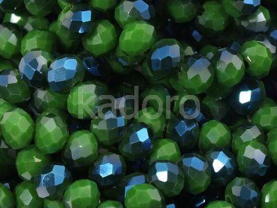 Szklane oponki fasetowane zielono-niebieskie 6x4 mm - sznur