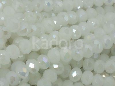 Szklane oponki fasetowane perłowa biel AB 6x4 mm - sznur