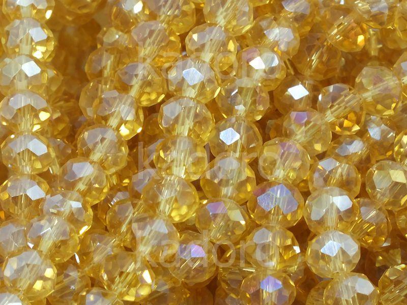 Szklane oponki fasetowane topazowe AB 6x4 mm - sznur